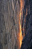 Horsetail Falls and alpenglow at sunset in Yosemite NP, CA