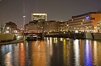 View from the Parliament Quarter to Berlin Mitte, night shot, Berlin, Germany