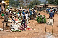 Selling fruit and vegetables in a village in Uganda, Africa