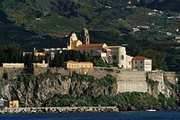Castle hill with church of Lipari, main village of Lipari, Liparian Islands, Sicily, province of Messina, Italy