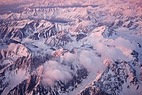 Aerial of sunset over the Chugach Mountains, Southcentral Alaska, Spring