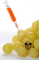 GMO grapes with injection and skull
