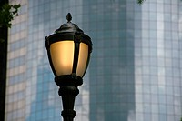 office building with street lamp, USA, New York City