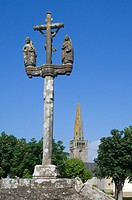 Calvary and church at Plouhinec, Brittany, France