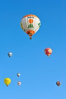 Balloonists / Aeronauts in hot_air balloons during ballooning meeting, Eeklo, Belgium