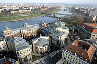 View from the Frauenkirche church to the baroque old town and river Elbe, Dresden, Saxony, Germany