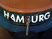 Name of homeport, at the stern of a launch boat in the harbour, Hamburg, Germany