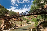 Bridge over the North Fork Virgin River, Zion National Park, Utah, USA