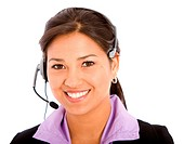 business customer support woman with headset smiling