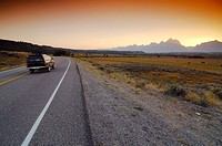 Road in the Grand Teton National Park, Wyoming, United States of America