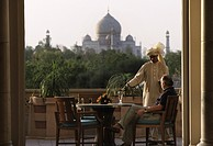 Oberoi hotel Amarvilas, terrace with view to the Taj Mahal, Agra, Uttar Pradesh, India
