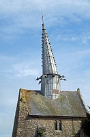 The chapel of Saint_Gonéry with its crooked spire at Plougrescant, Brittany, France