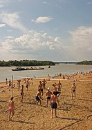 Beachside at the River Irtisch, Bather and Sunner at the Beachside of River Irtisch, Beach Volleyball, Transport ship on the River Irtisch, Omsk, Sibi...