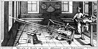 Sun projection. Historical artwork showing the German astronomer Christoph Scheiner 1575_1650 mapping sunspots with the help of an assistant. Here he ...