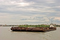 Transporting ships at the River Irtisch, Omsk at the Rivers of Irtisch and Omka, Omsk, Sibiria, Russia, GUS, Europe,