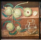 Roman fresco of peaches and a glass jug, from the House of Red Deers Casa dei Cervi, Herculaneum, 45_79 AD. This fresco is displayed in the Archaeolog...