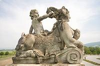 Statue in Baroque imperial festival palace Hof in Niederweiden in Lower Austria