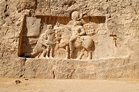 sassanid relief of the triumph of king Shapur I  over the Roman Emperor Valerian and Philip the Arab at the achaemenid burial site Naqsh-e Rostam, Rus...