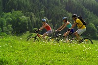 three cyclists with mountainbikes in meadow, Austria, Styria, Schladming