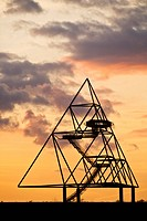 Tetraeder look_out in sunset, Germany, North Rhine_Westphalia, Bottrop
