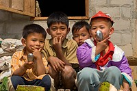 four laotian children, Laos, Luang Prabang