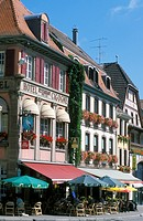 Hotel Restaurant de la Cigogne in Munster, houses, Alsace, France, Europe