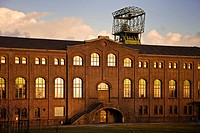 machine hall with winding tower of old coal mine Zweckel I and II, Germany, North Rhine_Westphalia, Ruhr Area, Gladbeck