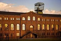 machine hall with winding tower of old coal mine Zweckel I and II, Germany, North Rhine_Westphalia, Ruhr Area, Gladbeck
