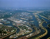 domestic port with oil tanks and coal depot, Germany, North Rhine_Westphalia, Ruhr Area, Duisburg