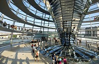 Interior of dome of building Reichstag Berlin Germany