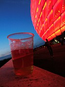 Munich, Bavaria, GER, Germany: Red illuminated football stadium: the Allianz-Arena.