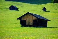 Small sheds on a spring meadow, Gerold, Mittenwald, Upper Bavaria, Bavaria, Germany, Europe