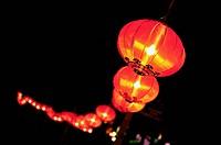 Chinese Lanterns glowing at night