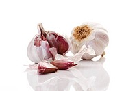 Garlic bulbs and garlic cloves