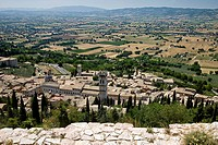 View over the roofs of the medieval town of Assisi, Italy, Europe