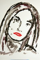 Portrait of a woman´s face, watercolor, artist Gerhard Kraus, Kriftel, Germany, Europe