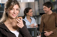 young woman and couple in kitchen, breakfast