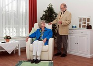 Elderly couple in the room of a nursing home for elderly
