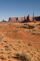 Afternoon view of the Totem Pole and Yei Bi Chei, Monument Valley Navajo Tribal Park, Arizona, USA