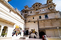 City Palace towers over the Pichola Lake  Maharana Uday Singh initiated in the construction of the palace but succeeding Maharanas added several palac...