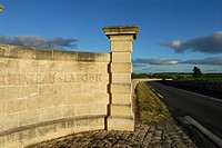 Pauillac  France  Chateau Latour boundary and the village of St Julien Beychevelle in the distance