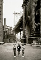 Three children in Brooklyn, New York, USA