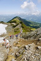 Wandering-group direction Rippeteck (2126 m) in the Dachstein - Tauern Region, Styria, Austria