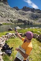 Cinco Lagunas Valley  Garganta del Pinar  Woman practice mountaineering in the mountains of the Sierra de Gredos National Park  Zapardiel de la Ribera...
