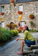 young woman in a village.