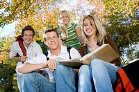 Students studying outdoors portrait (thumbnail)