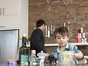 Father and son 3-4 in kitchen (thumbnail)