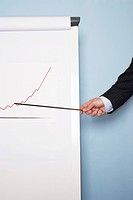 Businessman pointing at graph on easel close_up of hand