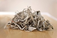Pile of shredded newspaper close_up