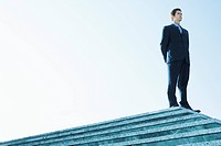 Businessman Standing on marble platform low angle view
